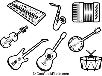 Acoustic and electric musical instruments - Outline sketch...