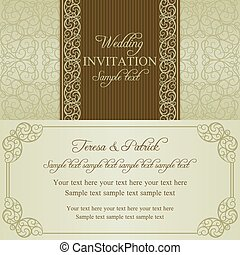 Baroque wedding invitation, dull gold - Baroque wedding...