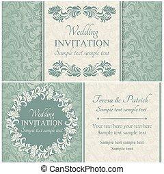 集合, 藍色, 巴洛克, 婚禮, 邀請