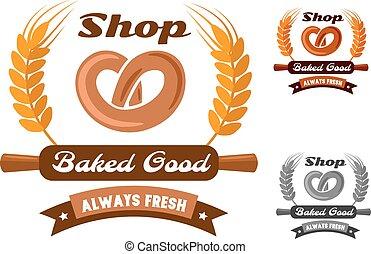 Bakery shop emblem or logo with pretzel - Bakery shop emblem...