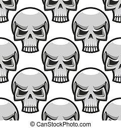 Seamless skulls pattern in cartoon style