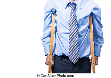 employee with crutches, white background.