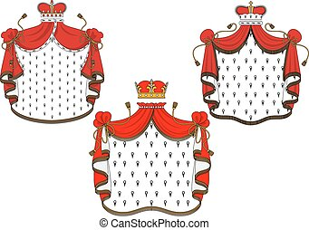 Royal red velvet mantle with golden crowns - Majestic royal...