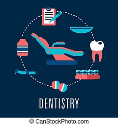Dentistry concept with dental chair and medical icons -...