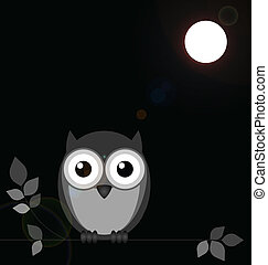Night Owl - Monochrome owl bathed in moonlight with lens...