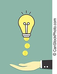 idea is money - lightbulb has make coins of money and big...