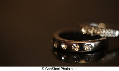 Wedding rings on a dark background