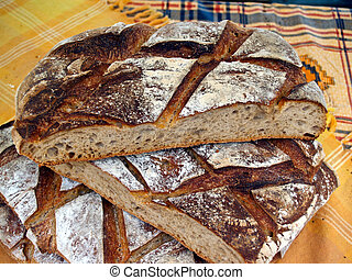 Artisan Bread. - Bread on display in a market place.