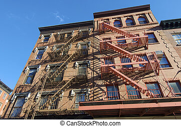 fire escape in facade, New York, Usa