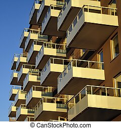 Windows and balconies in an residential area in Stockholm...