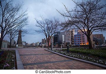 parque,  fukuoka, viejo, árbol, ciudad, japón