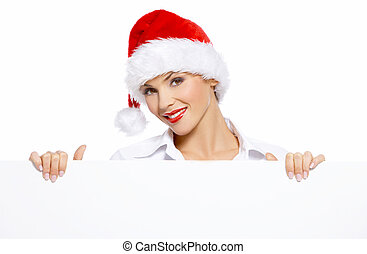 Business Billboard - Woman in santa hat with empty white...