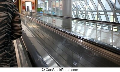 movement of the escalator at Bangkok airport HD 1920x1080 -...