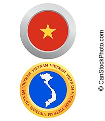 button as a symbol VIETNAM - button as a symbol VIETNAM flag...