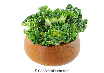 Fresh bok choy Chinese cabbage - A wooden bowl full of fresh...