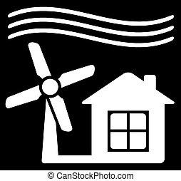 windmill power icon - black background with windmill white...