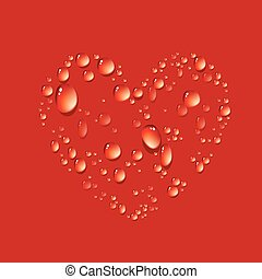 Water drop in shape heart - Vector of water drop in shape...