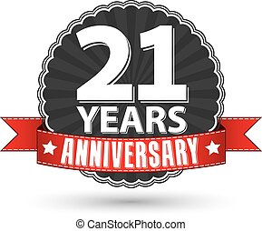 21 years anniversary retro label with red ribbon, vector...