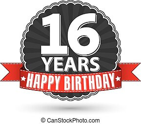 Happy birthday sweet 16 years retro label with red ribbon,...