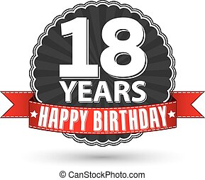 Happy birthday 18 years retro label with red ribbon, vector...