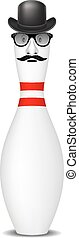 Bowling pin with bowler hat, mustache and glasses on white...