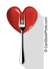 Fork with love on red heart plate.