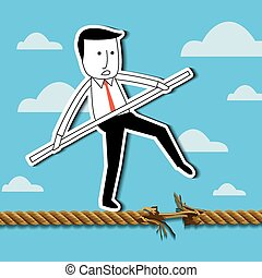 Businessman balancing on a rope.