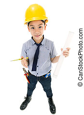 Young asian child construction engineer Holding equipment...