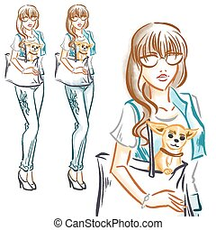 Fashion girl with little dog chihuahua - Fashionable woman...