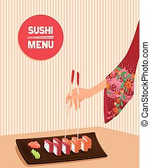woman hand holds by chopsticks maki sushi - Elegant woman...