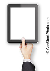 Hand holding a generic 3d rendered tablet with copyspace -...