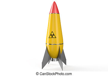 Nuclear yellow air missile  isolated on white background