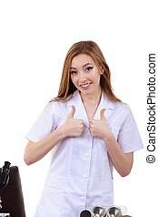 beautiful woman showing sign ok laboratory science
