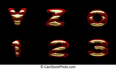 loop alpha matted red velvet alphabet with gold