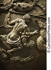 Aquarius - classic bronze bas-relief of man with water,...