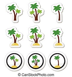 Palm trees, exotic holidays icons - Collection of palm tree...