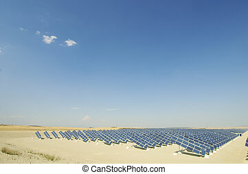 solar energy plant with blue sky