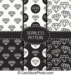 Set of monochrome hipster fashion geometri seamless pattern...