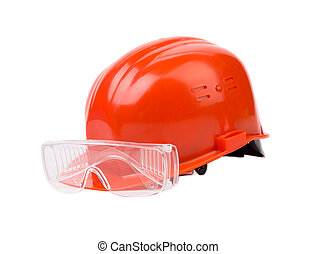 Red safety helmet Isolated on a white background