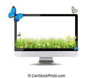 Modern computer display with spring meadow and butterflies...