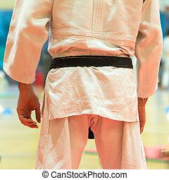 negro, cinturón, luchador, marcial, artes,