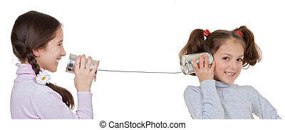 children playing with tin can and string telephone -...