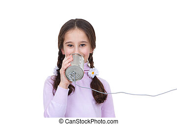 communication concept child with tin can and string...