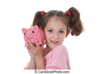 child with piggy bank money box - child with savings in...