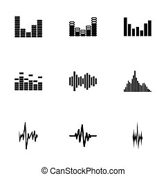 Vector music soundwave icons set on white background