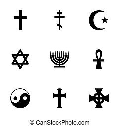 Vector religious symbols icon set on white background
