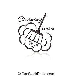 limpieza, servicio, icono,