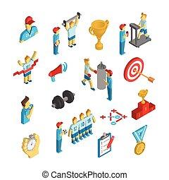 Coaching Sport Icon Isometric - Coaching athlete performance...