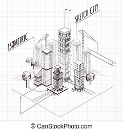 City Construction Sketch Isometric - City construction...