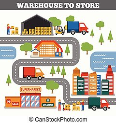 Warehouse To Store Concept - Warehouse to store...
